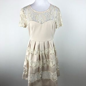 Luxe Apothecary L Cream Lace See Through Dress